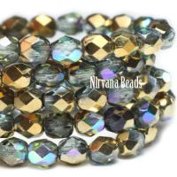 4mm Faceted Round Firepolished Bead Blue Green with Gold Luster AB Finish