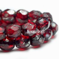 4mm Faceted Round Firepolished Bead Ruby Red with Picasso Finish