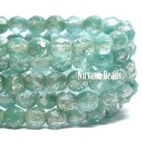 4mm Faceted Round Firepolished Bead Blue Green with Mercury Finish