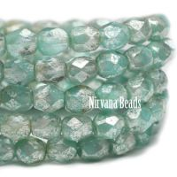 4mm Faceted Round Firepolished Bead Tea Green with Mercury Finish