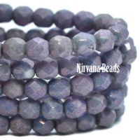 4mm Faceted Round Firepolished Bead Purple Pansy with Metallic Finish