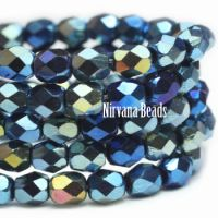 4mm Faceted Round Firepolished Bead Blue Metallic Mix