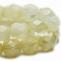 4mm Faceted Round Firepolished Bead Cream