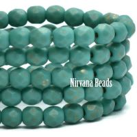 4mm Faceted Round Firepolished Bead Tiffany Green with An Etched and Gold Finish
