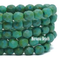 4mm Faceted Round Firepolished Bead Blue Green with Picasso and Etched Finish