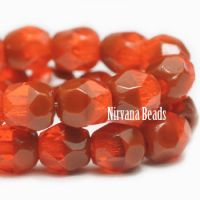 4mm Faceted Round Firepolished Bead Orange
