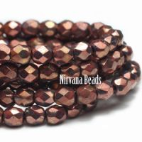 4mm Faceted Round Firepolished Bead Salmon with a Bronze Finish