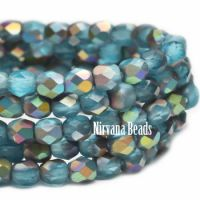 4mm Faceted Round Firepolished Bead Pacific Blue with Matte AB Finish