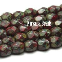 4mm Faceted Round Firepolished Bead Scarlet with Picasso Finish
