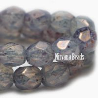 4mm Faceted Round Firepolished Bead Milky Periwinkle with Hyacinth Finish