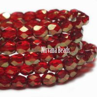 4mm Faceted Round Firepolished Bead Ruby Red with Gold Finish