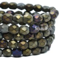 4mm Faceted Round Firepolished Bead Gunmetal Mix with Gold Finish