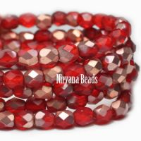 4mm Faceted Round Firepolished Bead Scarlet Red with Matte Copper Finish
