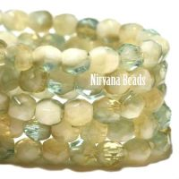 4mm Faceted Round Firepolished Bead Chartreuse, Tea Green, and Off White