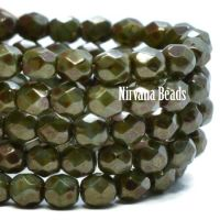 4mm Faceted Round Firepolished Bead Dark army green with a metallic picasso finish