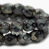 4mm Faceted Round Firepolished Bead Black with Picasso Finish