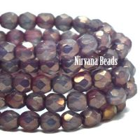 4mm Faceted Round Firepolished Bead Purple Pansy with Mother Of Pearl Finish