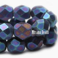 4mm Faceted Round Firepolished Bead Metallic Indigo Mix