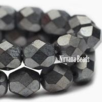 4mm Faceted Round Firepolished Bead Charcoal