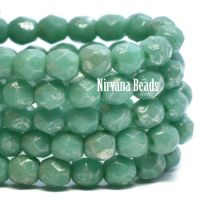 4mm Faceted Round Firepolished Bead Bue Green with a Metallic Picasso Finish