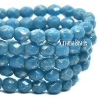 4mm Faceted Round Firepolished Bead Pacific Blue with a Silver Picasso Finish