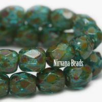 4mm Faceted Round Firepolished Beads BE. Aqua Picasso