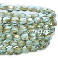 4mm Faceted Round Firepolished Beads BE. Aqua Bronze Luster