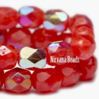 4mm Faceted Round Firepolished Bead Scarlet Red with AB Finish