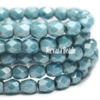 4mm Faceted Round Firepolished Bead Medium Sky Blue