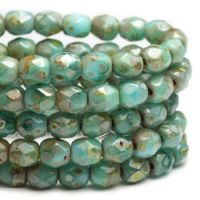 4mm Faceted Round Firepolished Bead Sea Green with Picasso Finish