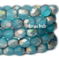 6mm Faceted Round Firepolished Bead Pacific Blue with Matte AB Finish