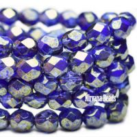 6mm Faceted Round Firepolished Bead Indigo and Grape