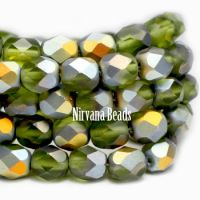 6mm Faceted Round Firepolished Bead Moss Green with AB Finish