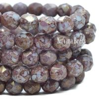 6mm Faceted Round Firepolished Bead Thistle with a Golden Hyacinth Finish