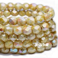 6mm Faceted Round Firepolished Bead Light Honey with AB Finish