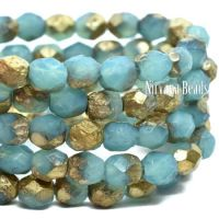 6mm Faceted Round Firepolished Bead Sky Blue with An Etched Finish and a Gold Wash