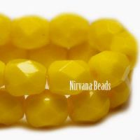 6mm Faceted Round Firepolished Bead Bright Yellow