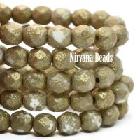 6mm Faceted Round Firepolished Bead White with An Etched Finish and Gold Wash