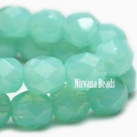 6mm Faceted Round Firepolished Bead Tea Green