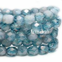 6mm Faceted Round Firepolished Bead Pale Pacific Blue