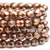 6mm Faceted Round Firepolished Bead Salmon with Bronze Finish