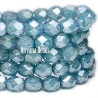 6mm Faceted Round Firepolished Bead Slate Blue