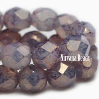 6mm Faceted Round Firepolished Bead Milky Periwinkle with Hyacinth Finish