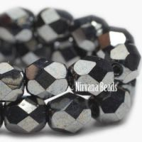 6mm Faceted Round Firepolished Bead Hematite