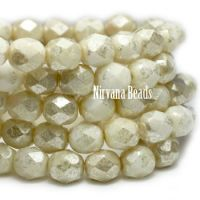 6mm Faceted Round Firepolished Bead Ivory with Mercury Finish