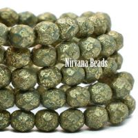 6mm Faceted Round Firepolished Bead Sea Green with An Etched Finish and Gold Wash