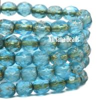 6mm Faceted Round Firepolished Bead Pacific Blue with An Etched Finish and Gold Wash