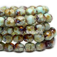 6mm Faceted Round Firepolished Bead Sky Blue and Amber with Picasso Finish