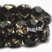 6mm Faceted Round Firepolished Bead Black with Gold Finish