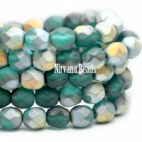 6mm Faceted Round Firepolished Bead Blue Green with Matte AB Finish